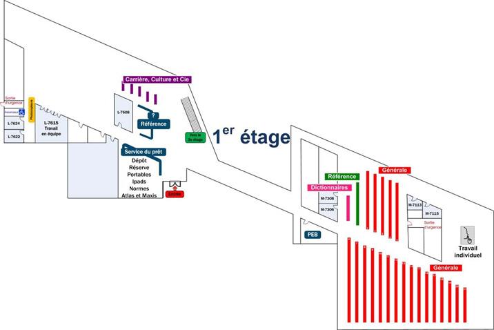 Plan de la bibliothèque - étage 1