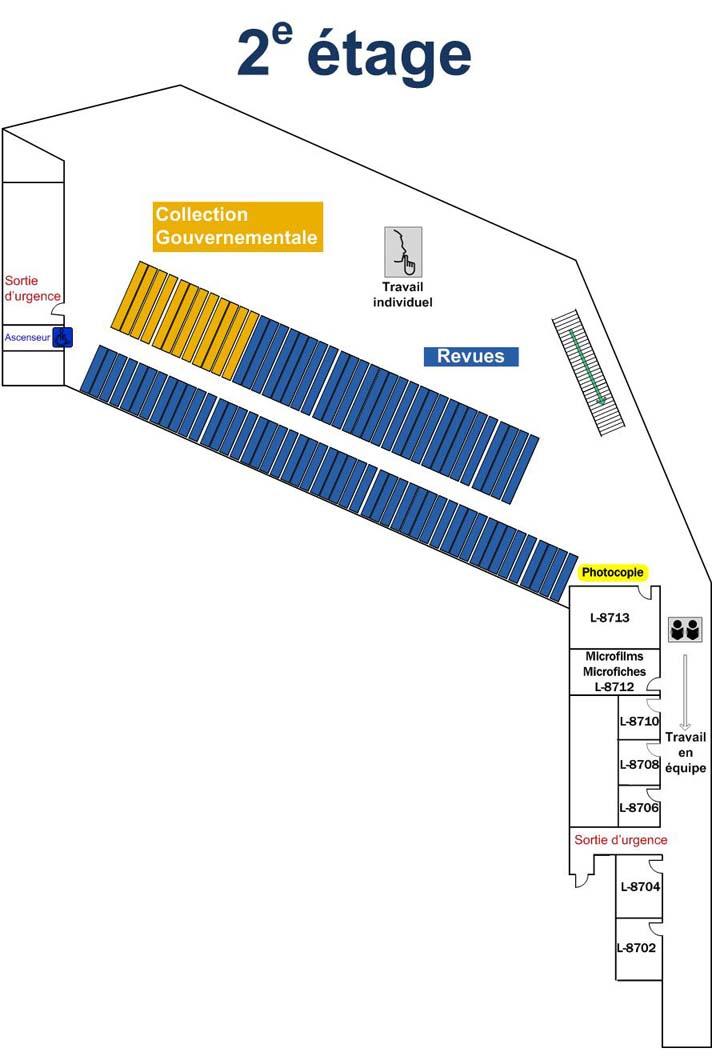 Plan de la bibliothèque - étage 2