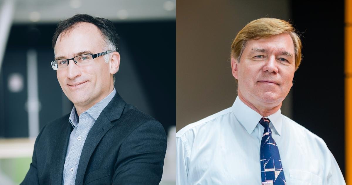 De gauche à droite : Carl-Éric Aubin, professeur titulaire au Département de génie mécanique de Polytechnique Montréal; Ludvik Martinu, professeur titulaire au Département de génie physique de Polytechnique Montréal.