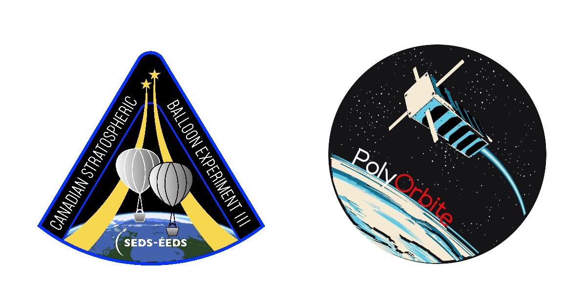 Les écussons de la troisième édition du Défi CAN-SBX et de la société technique PolyOrbite. (Images : Étudiants pour l'exploration et le développement spatial; PolyOrbite)
