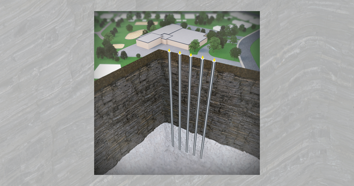 As part of Project Alliance, a geothermal energy system comprising five standing column wells (SCW) will be built in the area around Clé-des-Champs primary school, in Saint Augustin, Mirabel. (Credit: Massouh bioMEDia for Polytechnique Montréal)