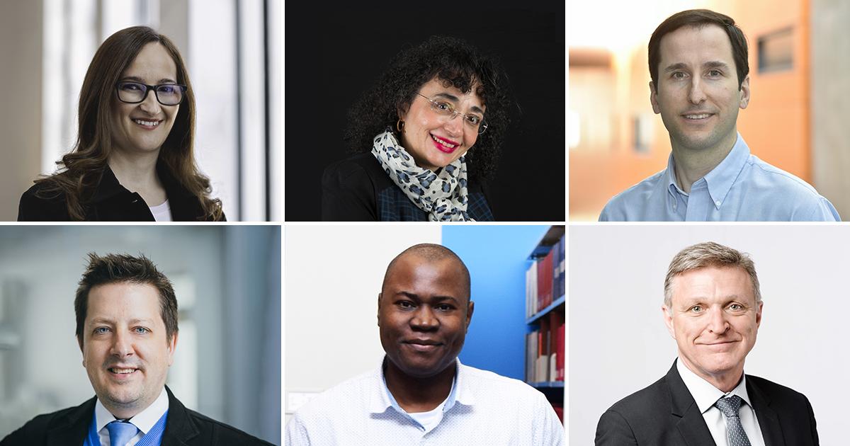Les professeures Gabriela Nicolescu et Brunilde Sansò, les professeurs Daniel Therriault, Frédéric Leblond et Foutse Khomh et le diplômé Marc Parent.
