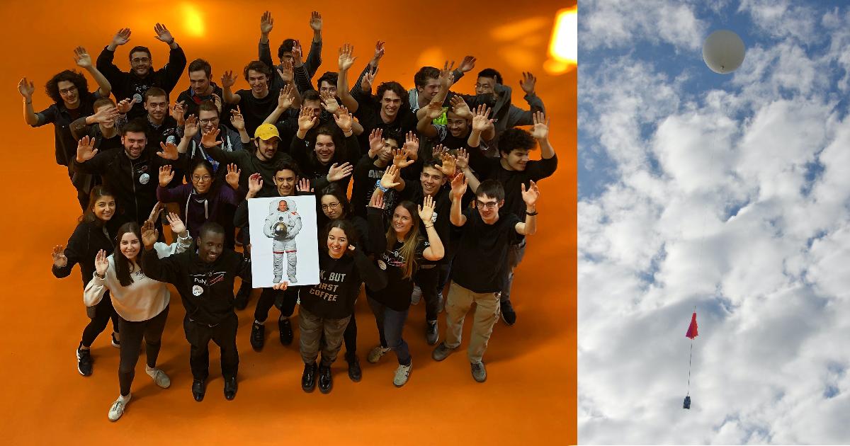 L'été prochain, les membres de la société technique PolyOrbite (à gauche) verront leurs dispositifs prendre leur envol sous un ballon stratosphérique de l'Agence spatiale canadienne (à droite). (Photos : PolyOrbite; Agence spatiale canadienne)