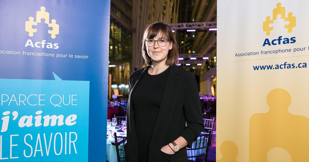 Tanja Pelzmann, doctorante au Département de génie mécanique à Polytechnique Montréal. (Photo : Hombeline Dumas/Acfas)