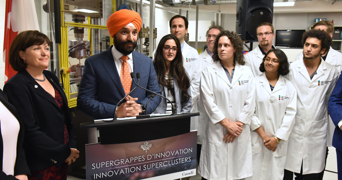 The Honourable Navdeep Bains, MP for Mississauga–Malton and Minister of Innovation, Science and Economic Development, at the Laboratory for Multiscale Mechanics (LM2) at Polytechnique Montréal