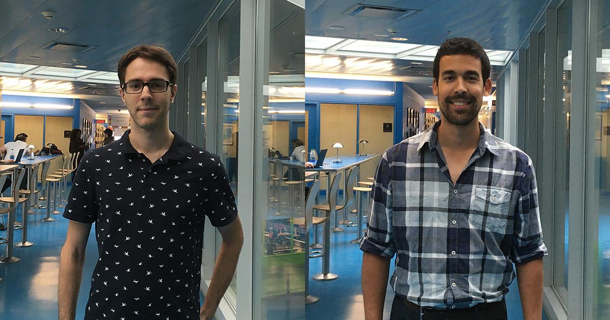 De gauche à droite : Charles Coulombe, étudiant au doctorat au Département de génie mécanique de Polytechnique Montréal; Karim Achouri, étudiant au doctorat au Département de génie électrique de Polytechnique Montréal.