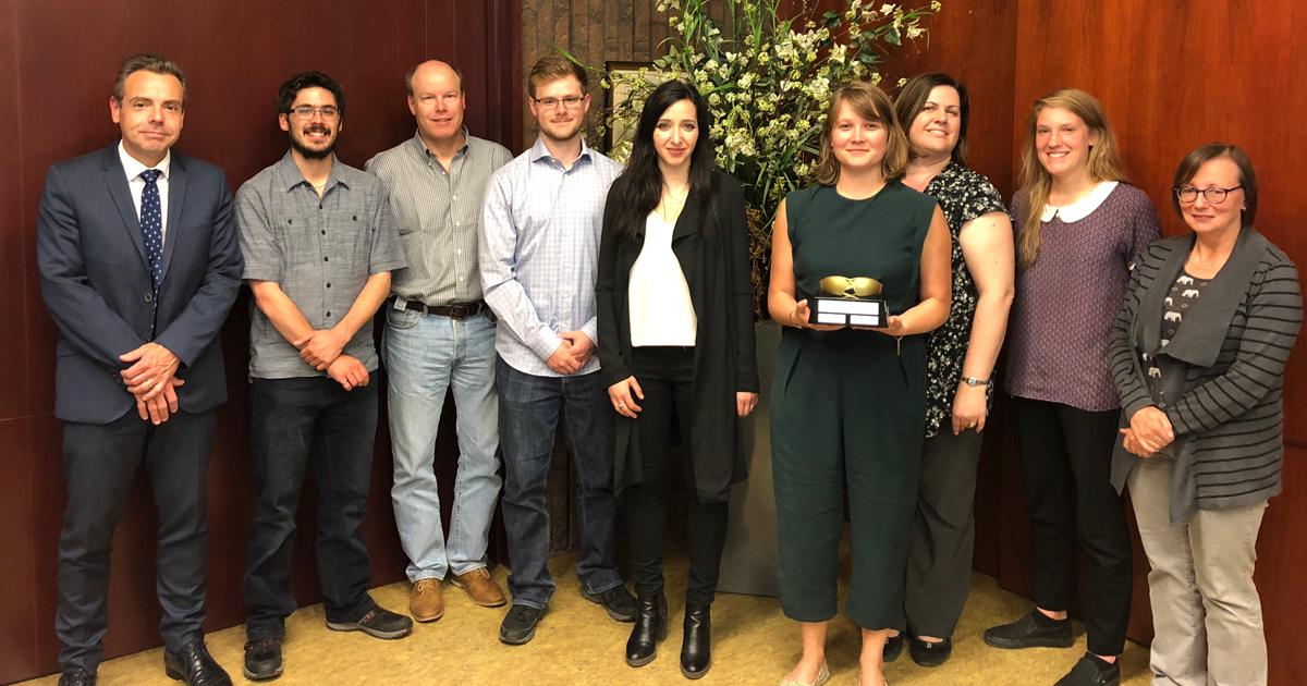 Des représentants des lauréats et des participants au concours Les lunettes de sécurité d'or pour 2018 à Polytechnique Montréal