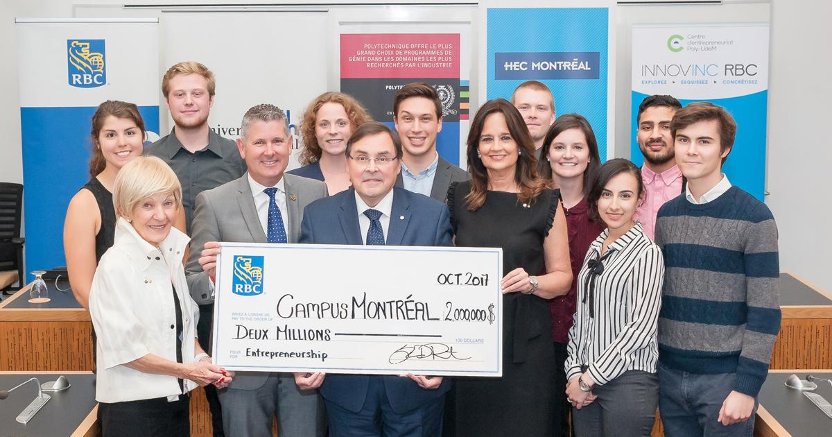 Les dignitaires et des étudiants entrepreneurs présents à l'annonce du don de RBC à Polytechnique Montréal, l'Université de Montréal et HEC Montréal.