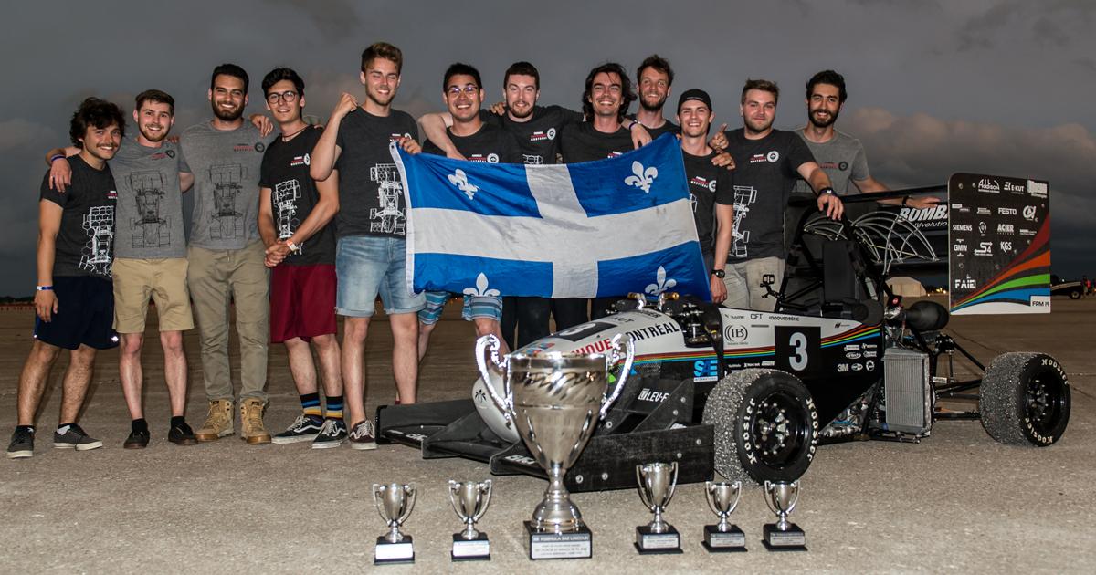 Les membres de la société technique Formule Polytechnique Montréal à la compétition Formula SAE Lincoln 2019. (Photo : Formule Polytechnique Montréal)