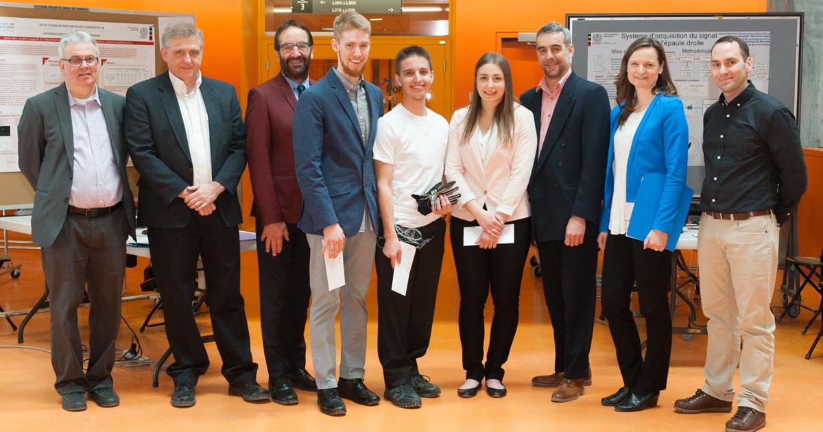 Les gagnants de prix et le jury de l'édition de l'hiver 2018 du cours GBM3100 à Polytechnique Montréal.