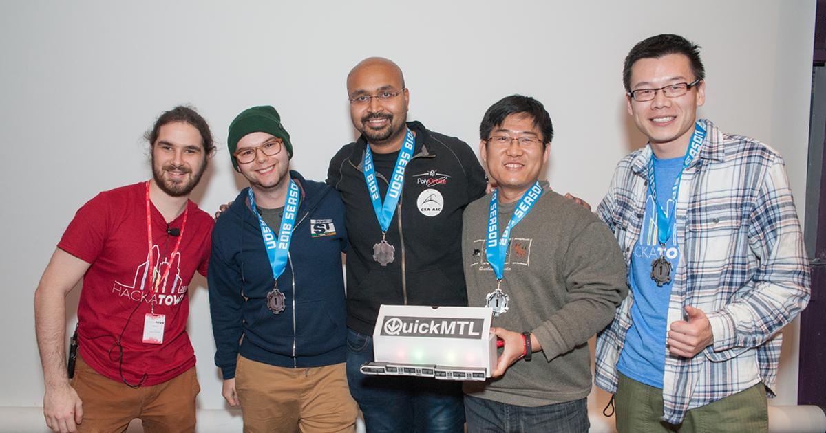 Hugo Genesse, vice-président aux communications de PolyHx; Marcel Kaufmann; Shankar Varadharajan; Meng Li; Yanjun Cao. (Photo : Poly-Photo)