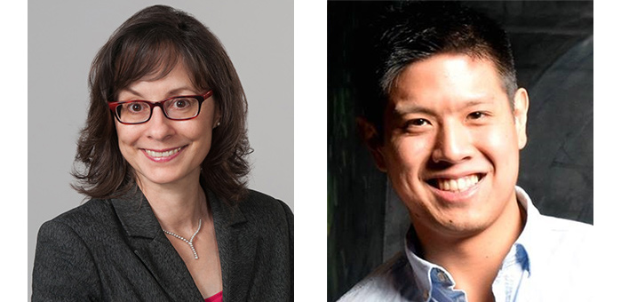 Caroline Hoemann, professeure titulaire au Département de génie chimique de Polytechnique Montréal, et David Fong, diplômé au doctorat en génie biomédical de Polytechnique Montréal.