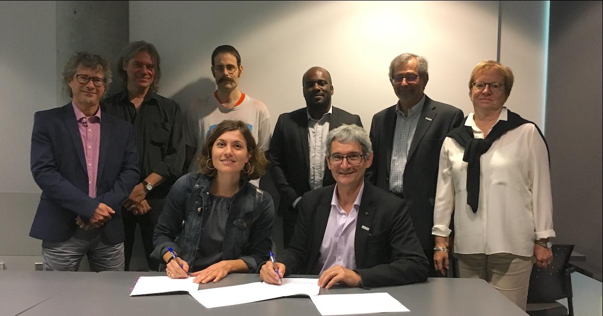 Signature de la première convention collective entre Polytechnique Montréal et l'unité des chargés de cours de l'ASSEP, le 15 septembre 2017.