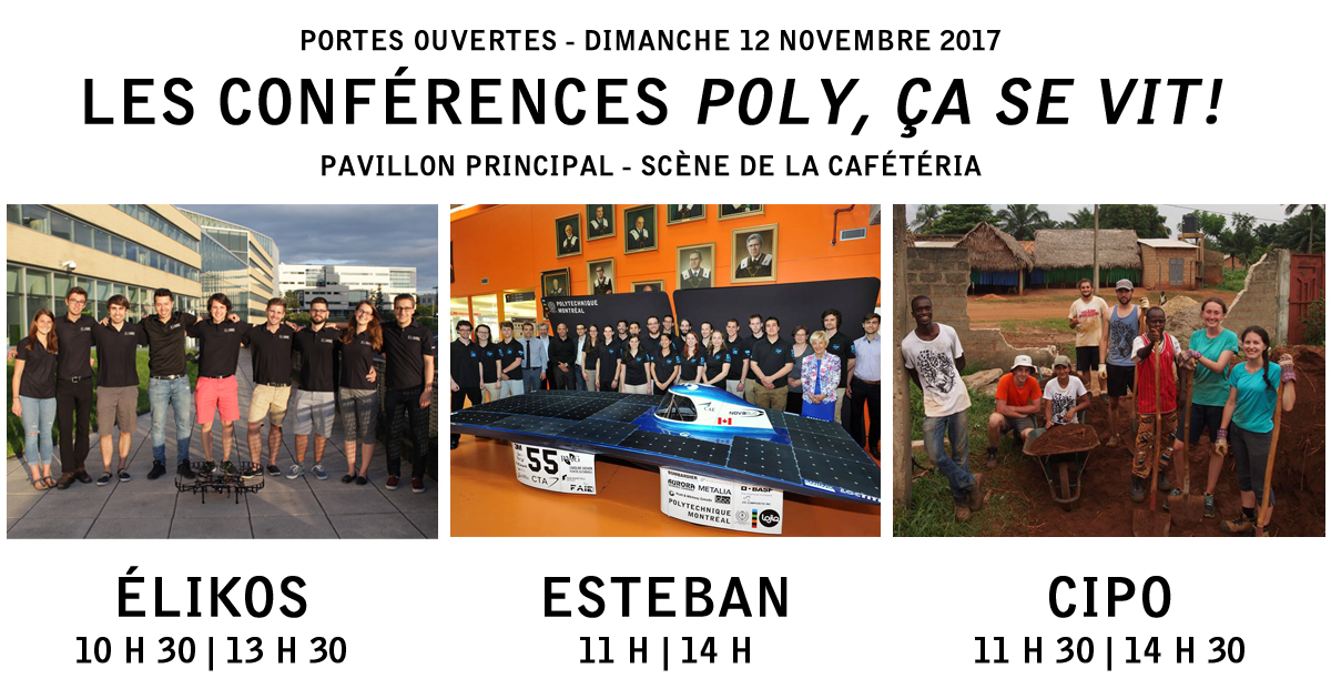 Portes ouvertes 2017 - Conférences « Poly, ça se vit! »