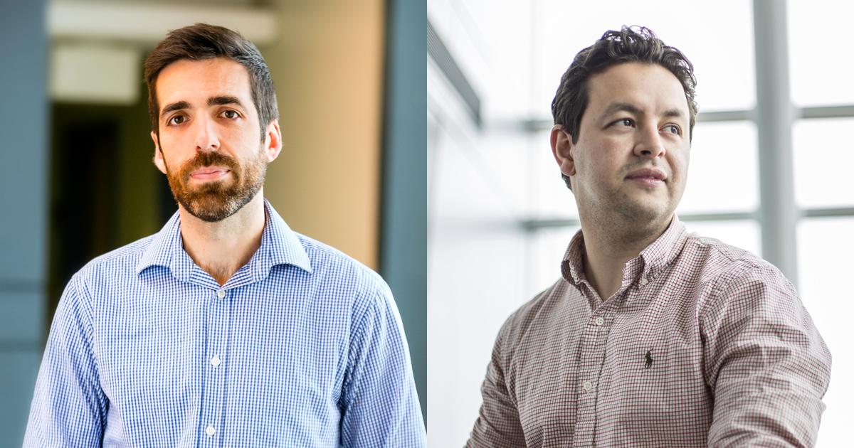 De gauche à droite : Stéphane Kéna-Cohen, professeur adjoint au Département de génie physique de Polytechnique Montréal; Oussama Moutanabbir, professeur agrégé au Département de génie physique de Polytechnique Montréal.