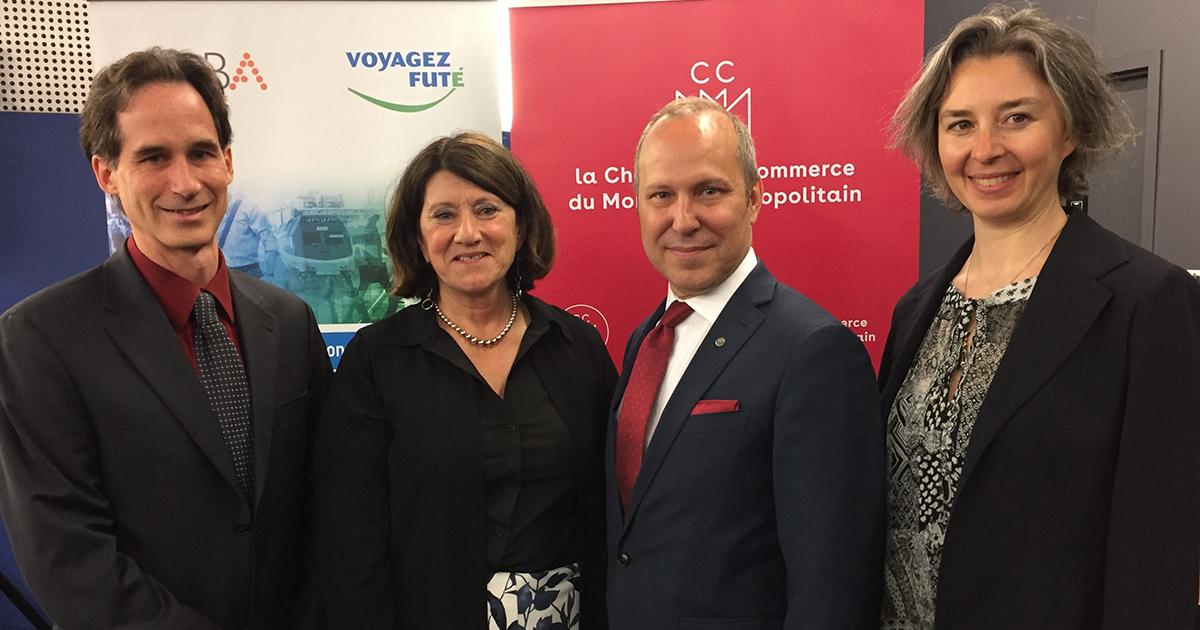 Jean-François Desgroseilliers (Polytechnique Montréal), Lucie Tremblay (Voyagez Futé), Michel Leblanc (Chambre de commerce du Montréal métropolitain), Aline Berthe (MOBA).