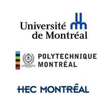 Logos de l'Université de Montréal, de Polytechnique Montréal et de HEC Montréal