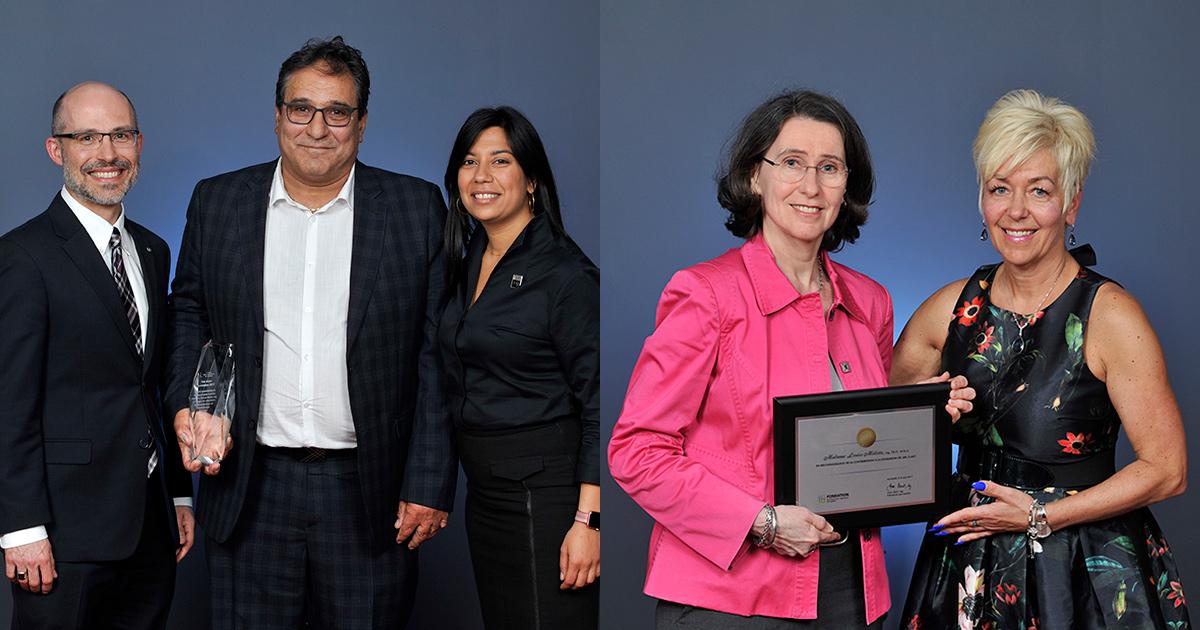 Pierre Langlois, Mahmood Mohammadi, Kathy Baig, Louise Millette et Anne Baril,lors de la remise des prix au Gala de l'Excellence 2017 de l'Ordre des ingénieurs du Québec