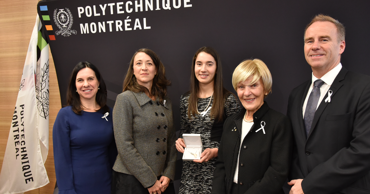 From left to right: Valérie Plante, mayor of Montreal; Nathalie Provost, Polytechnique graduate injured during the 1989 tragedy and ambassador of the Order of the White Rose; Ella Thomson, third recipient of the Order of the White Rose scholarship; Michèl