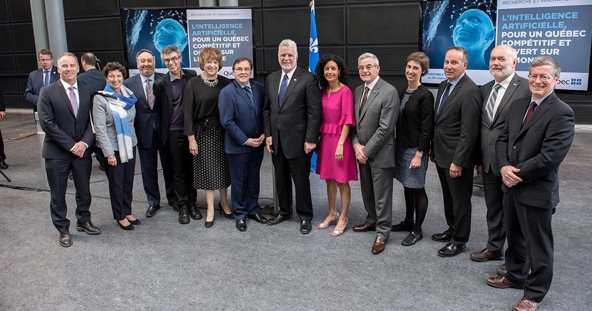 Les dignitaires présents lors de l'annonce officielle de la création de la grappe québécoise en intelligence artificielle.