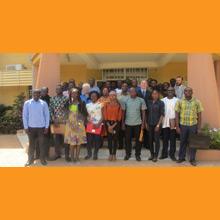 Photo prise lors du lancement officiel du programme de master en environnement et gestion des rejets miniers de l'Université Ouaga I Professeur Joseph Ki-Zerbo, au Burkina Faso.