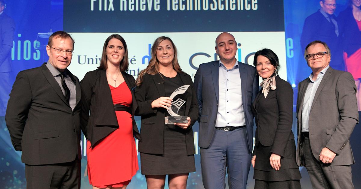 Remise du prix Relève Technoscience au Gala des Prix Innovation 2019 de l'ADRIQ (Photo : Normand Huberdeau)