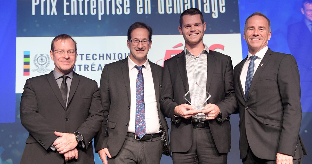 Remise du prix Entreprise en démarrage au Gala des Prix Innovation 2019 de l'ADRIQ (Photo : Normand Huberdeau)