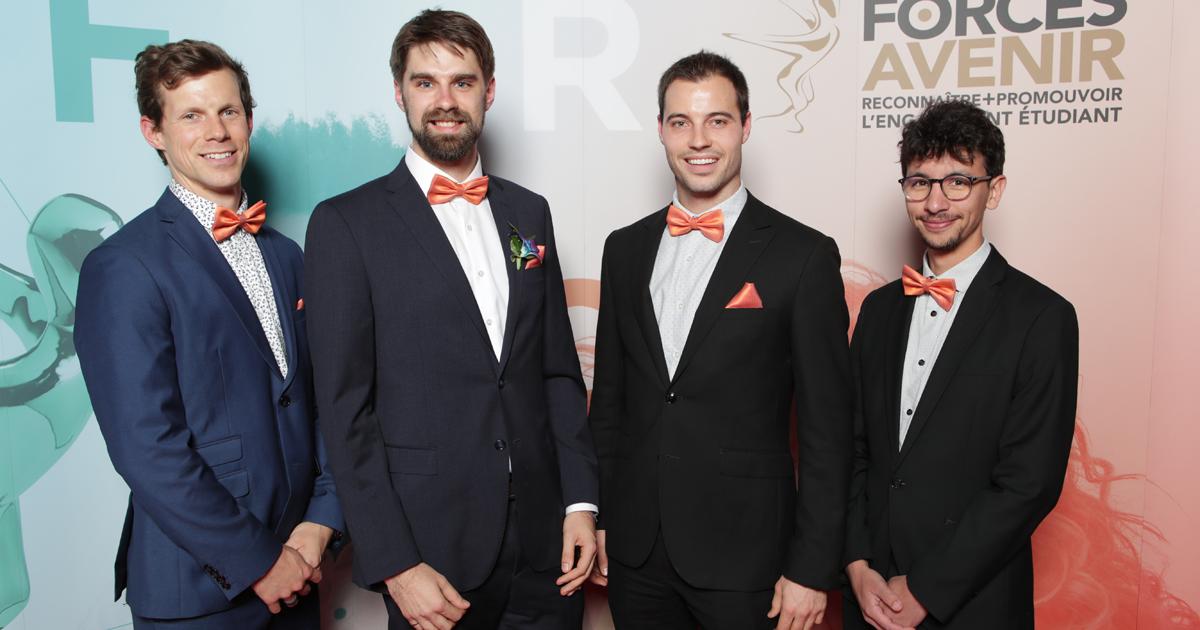 Les étudiants aux cycles supérieurs Guillaume Gaudet, Laurent Blanchet et Samuel Lecours et le diplômé Mathieu Ramananarivo, de la jeune entreprise Biolift, finalistes dans la catégorie « Entrepreneuriat, affaires et vie économique ».