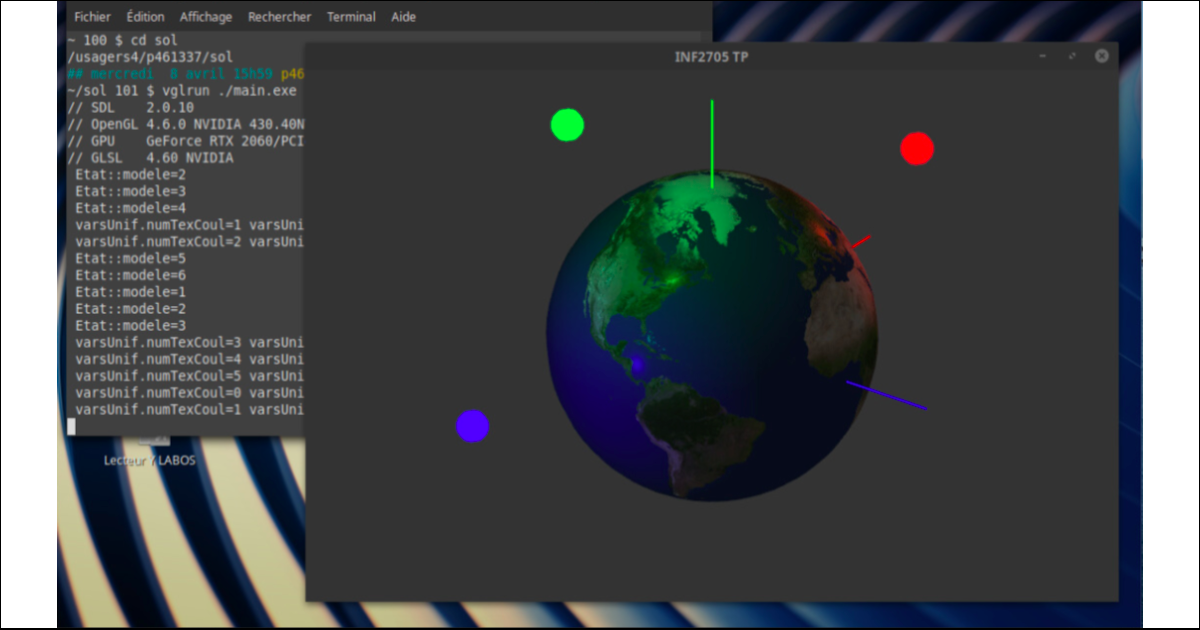 Dans le cadre des travaux pratiques du cours INF2705, les étudiantes et les étudiants ont à éclairer différents objets, comme une sphère, des opérations que certaines et certains effectuent désormais à distance grâce au logiciel VirtualGL.