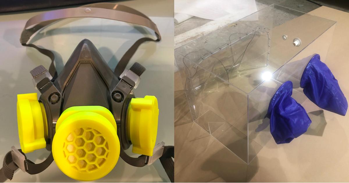 Les équipes pluridisciplinaires de SantéLibre ont entre autres conçu des masques de protection fonctionnant avec des cartouches rechargeables (à gauche) ainsi que des boîtiers d'intubation pour protéger le personnel des centres hospitaliers (à droite).