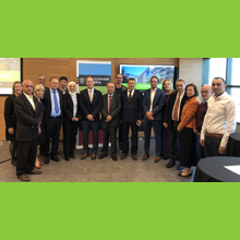 La délégation de représentants de l'Académie de la Palestine pour les sciences et les technologies et de recteurs d'établissements universitaires palestiniens et des membres de la communauté de Polytechnique Montréal, lors d'une visite le 10 octobre 2019