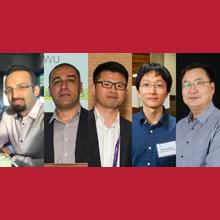 De gauche à droite : Jaber Moghaddasi; Tarek Djerafi; Xiaoqiang Gu; Desong Wang; Ke Wu.