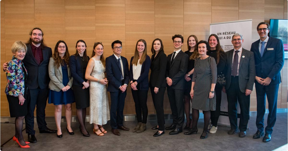 Les lauréates et les lauréats du Profil de Vinci 2019, en compagnie de Michèle Thibodeau-DeGuire, Isabelle Péan, Pierre Baptiste et Éric Doré. (Photo: PolyPhoto)