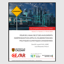 Rapport « Pour de l'analyse et des avis experts indépendants en appui à l'élaboration des politiques climatiques canadiennes ».