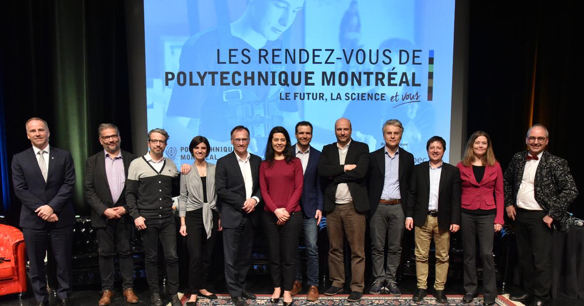 Les conférencières et les conférenciers de la deuxième édition des Rendez-vous de Polytechnique, accompagnés de François Bertrand, Matthieu Dugal et Luc Sirois. (Photo : Denis Bernier)