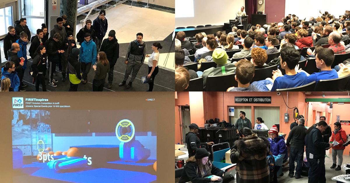 Dévoilement du défi de la Compétition internationale de robotique FIRST 2019 à Polytechnique Montréal.