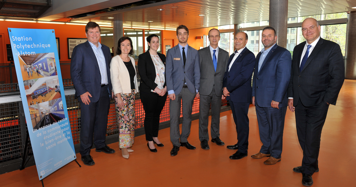 Les dignitaires et les représentants du comité étudiant qui ont pris la parole lors de l'événement d'inauguration du projet Station Polytechnique-Alstom et de reconnaissance du don d'Alstom pour le projet.