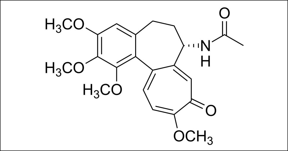 Structure chimique de la colchicine. (Image: Calvero/Wikimedia Commons)
