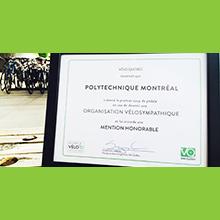 Polytechnique Montréal obtient une mention honorable de Vélo Québec
