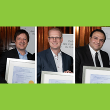 Trois membres de notre communauté honorés par l'Ordre des ingénieurs du Québec