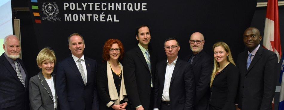Les dignitaires présents à l'inauguration de deux nouvelles chaires industrielles Safran et de la célébrations de dix années de collaboration entre Polytechnique Montréal et Safran (Photo: Denis Bernier)