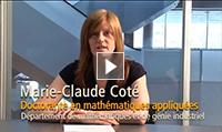 Marie Claude Coté, Doctorante, en mathémathiques appliquées