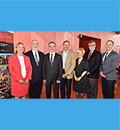 Les dignitaires présents lors de l'inauguration de la Chaire industrielle de recherche Pomerleau sur l'innovation et la gouvernance des projets de construction de Polytechnique Montréal