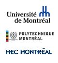 Logos de l'Université de Montréal, Polytechnique Montréal et HEC Montréal