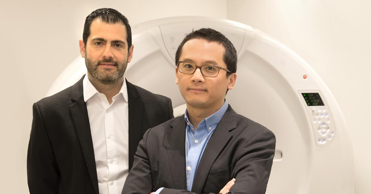 Samuel Kadoury, chercheur au CRCHUM et professeur à Polytechnique Montréal, et Dr An Tang, radiologiste au Centre hospitalier de l'Université de Montréal et professeur à l'Université de Montréal.