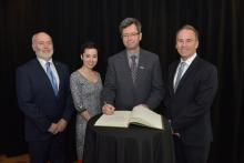 De gauche à droite : Christophe Guy, directeur général de Polytechnique Montréal; Marie Lambert-Chan, rédactrice en...