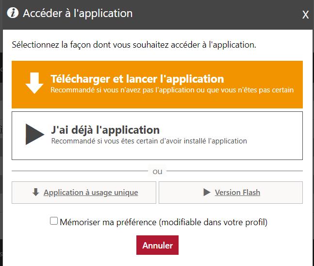 Pop-up menu : Télécharger l'application