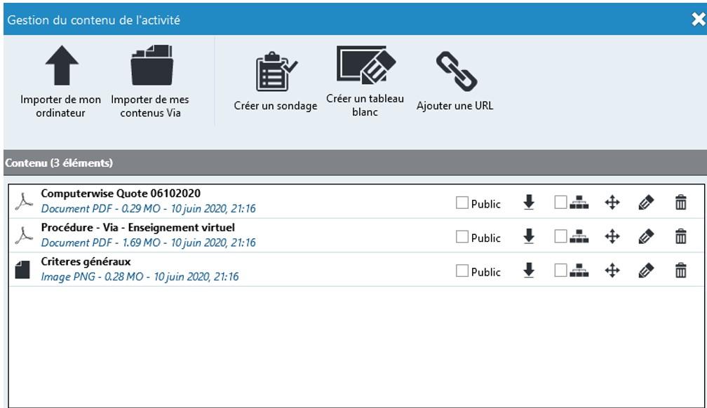 Ouverture page Gestion des document dans VIA