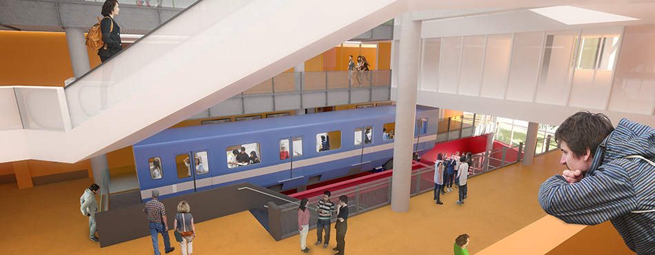 Rendu de la Station Polytechnique-Alstom qui sera installée sur un support en acier, dans le vide technique d'une cage d'escalier, dans l'Atrium Lorne-M.-Trottier des pavillons Lassonde de Polytechnique Montréal. (Rendu : EVOQ Architectes)