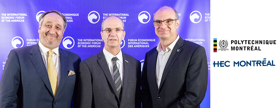 From left to right: Michel Patry, ex-director of HEC Montréal; Philippe A. Tanguy, President of Polytechnique Montréal; Federico Pasin, Director of HEC Montréal.